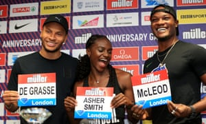 Dina Asher-Smith enjoys the limelight with men's Omar McLeod (right) and Andre De Grasse.
