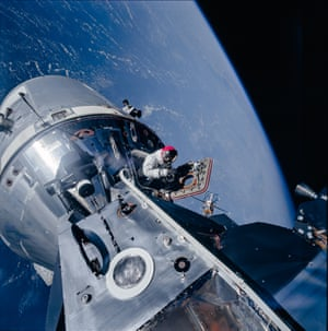 Command module pilot David Scott space walks during the Apollo 9 mission.