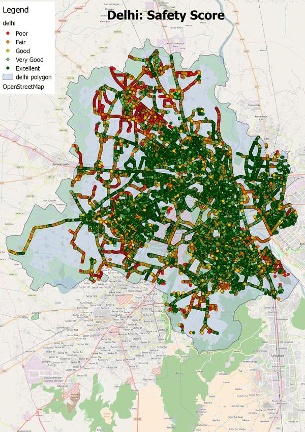 Delhi SafetiPin map.