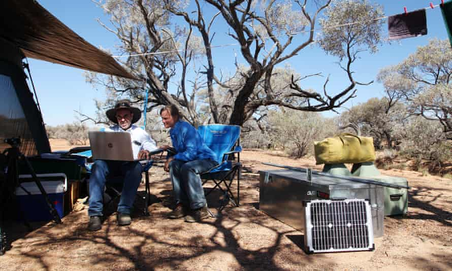 Ecologist Steve Murphy and his wife Rachel Barr at their camp site.