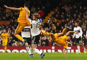 Wolverhampton Wanderers' Morgan Gibbs-White has an acrobatic attempt at goal.