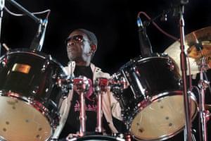 Tony Allen at his drum kit