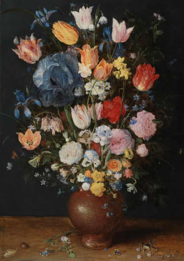 A stoneware vase of flowers, by Jan Brueghel the Elder, c1607-1608. H: 60.3cm W42.2cm