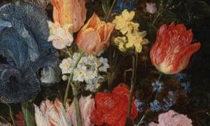 A Stoneware Vase of Flowers (detail), by Jan Brueghel the Elder, c1607-1608.