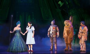 Lucy Durack as Glinda, Samantha Dodemaide as Dorothy, Alex Rathgeber as Tin Man, Eli Cooper as Scarecrow and John Xintavelonis as Cowardly Lion in the Australian production of Andrew Lloyd Webber's adaptation of the Wizard of Oz.