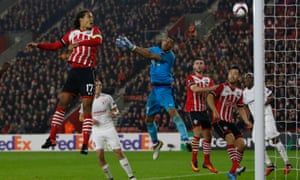 Virgil van Dijk misses a chance to score