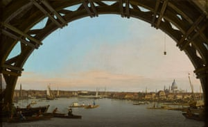 London Seen Through the Arch of Westminster Bridge by Canaletto, 1747