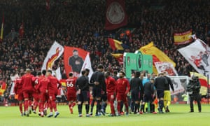 The Liverpool and Bournemouth players great each other without shake hands before their match on 7 March, the last Premier League game at Anfi9eldf in front of fans.