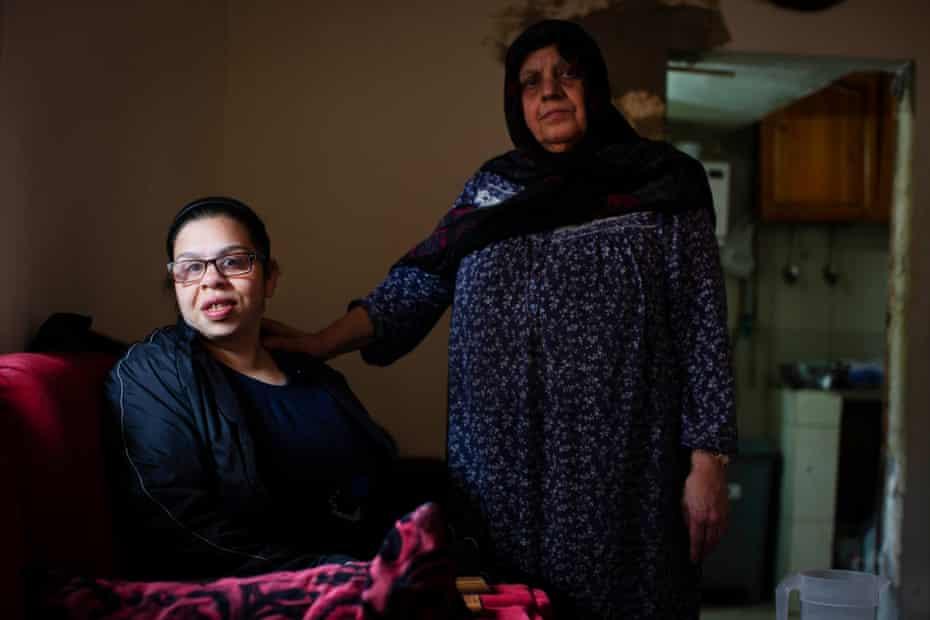 Nada Baghdadi with her granddaughter Nada Kadamani at their home in Beirut, Lebanon, 24 March 2021
