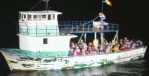 Illegal migrants are intercepted by Romanian border border police in the Black Sea, 24 August.