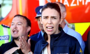 New Zealand prime minister Jacinda Ardern gives a media briefing at the Main Fire Command Centre