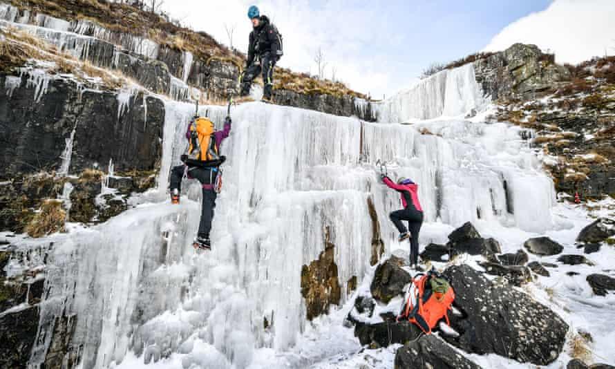 frozen waterfall  in Brecon Beacons
