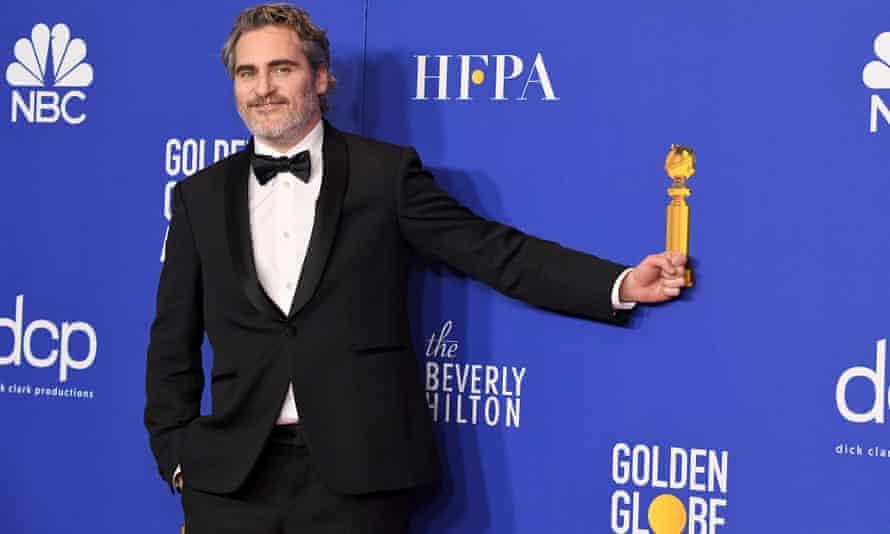 Joaquin Phoenix at the Golden Globes in his Stella McCartney-designed tuxedo.