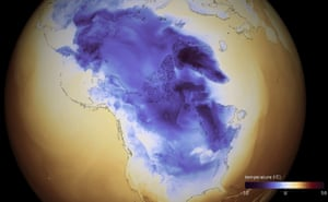 A photo made.by the National Oceanic and Atmospheric Administration (NOAA) shows the Artic cold that extends through Canada into the United States.