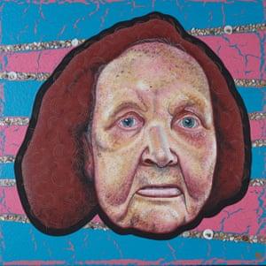 Archibald Prize 2019 finalist Blak Douglas' portrait of Aunty Esme Timbery, entitled 'White shells, black heart'