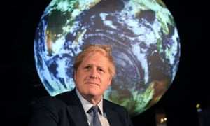 Boris Johnson reacts during an event to launch the United Nations Cop26 talks, which will take place in Glasgow later this year.