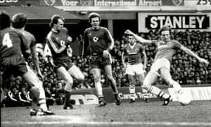 Everton taking on Bayern Munich in 1985.