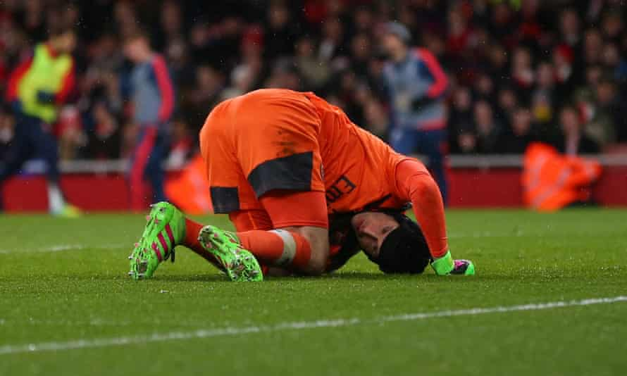 Petr Cech injured his calf while racing back towards his own goal during Arsenal's 2-1 defeat to Swansea on Wednesday