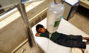 A cholera-infected Yemeni child receives treatment amid an acute cholera outbreak at a hospital in Sana'a.