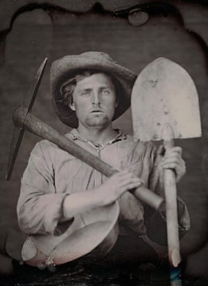 Unknown photographer. Portrait of an unidentified man dressed as a miner with tools. c. 1851 Daguerreotype