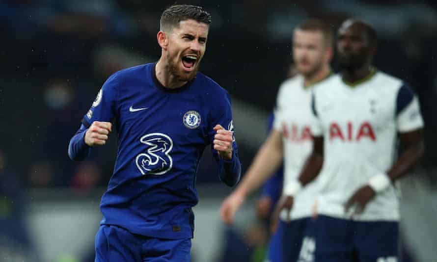 Jorginho celebrates his winning penalty for Chelsea against Tottenham.