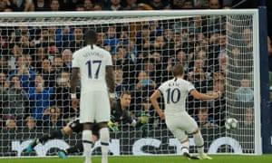 Tottenham Hotspur's Harry Kane pulls a goal back from the penalty spot.