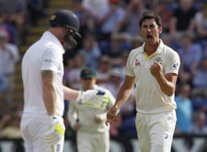 Mitchell Starc celebrates bowling Stokes for 42, after driving through the covers and sending an inside-edge jagging back into the stumps