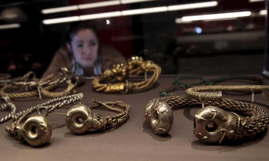 Gold, silver, and copper torcs from the Snettisham hoard on display at the British Museum
