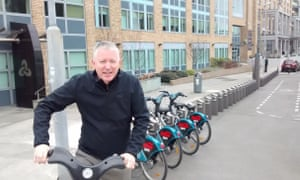Patrick Collinson using the Dublin bike-share scheme.