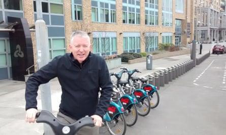 Patrick Collinson using the Dublin bike-share scheme.