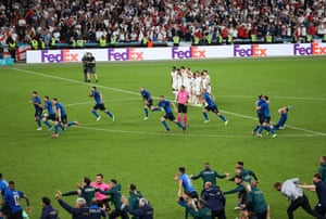 England players reaction aftter Gianluigi Donnarumma of Italy. saves Bukayo Saka penalty to win the match