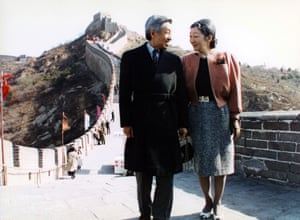 Emperor Akihito and Empress Michiko visit the Great Wall, near Beijing, China, in October 1992