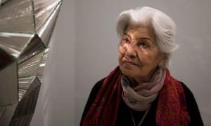 Monir Farmanfarmaian at her Guggenheim exhibition.