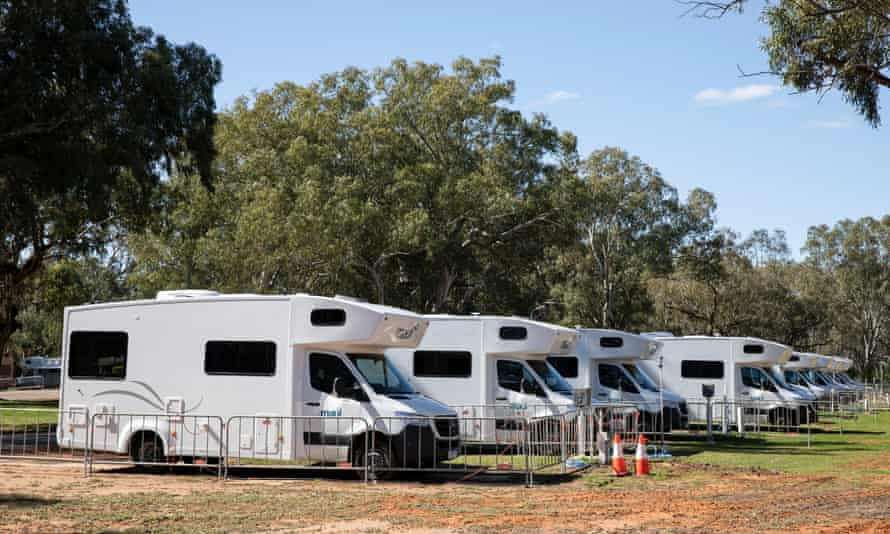 A line of motor homes in Wilcannia, waiting to house people isolating with Covid