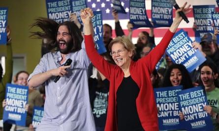 Jonathan Van Ness, of Queer Eye, introduces Elizabeth Warren during a rally in Cedar Rapids, Iowa, last month.
