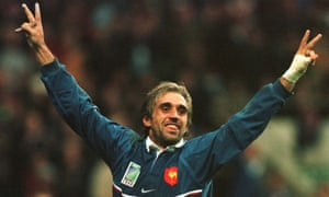 Philippe Bernat-Salles celebrates scoring France's fourth try in his team's shock 1999 Rugby World Cup semi-final victory over New Zealand.