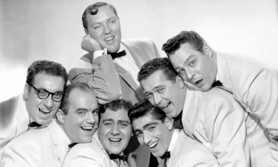 Bill Haley and his Comets. From left to right: Rudy Pompilli, Billy Williamson, Al Rex, Johnny Grande, Ralph Jones, Franny Beecher; Bill Haley is on top