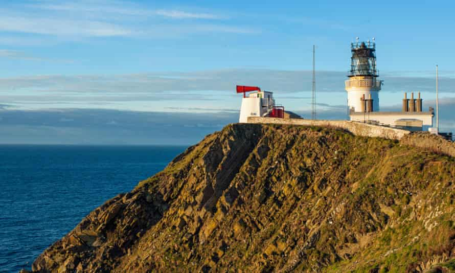 Lighthouse and foghorn at Sumburgh Head, Shetland.