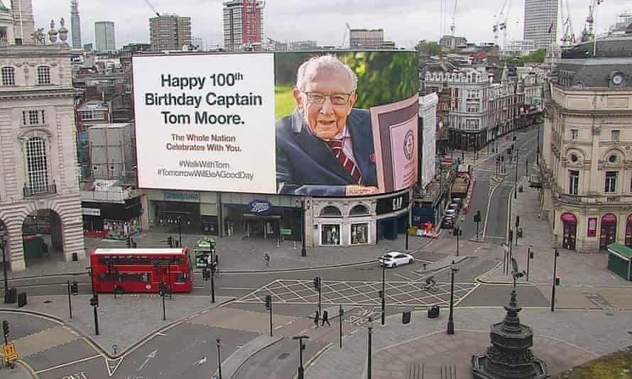 Piccadilly Circus on Capt Tom Moore's 100th birthday.