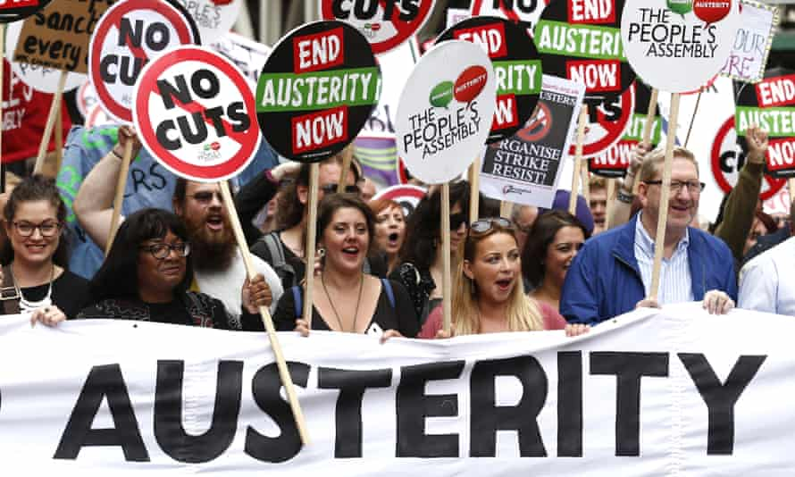 McCluskey (right) with others including Diane Abbott and Charlotte Church on a protest march against cuts and austerity measures in London last summer.