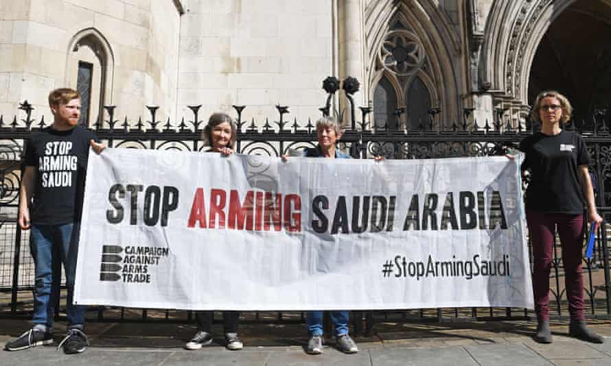 Campaign Against Arms Trade protesters outside the Royal Courts of Justice, London during a campaign that resulted in arms sales being halted.
