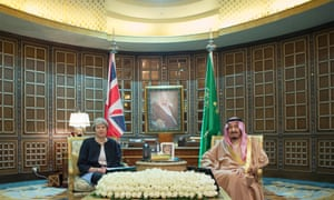 Saudi Arabia's King Salman bin Abdulaziz Al Saud meeting Theresa May in Riyadh yesterday.