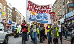 Campaigners protest against the transfer of council estates in north London to private developers