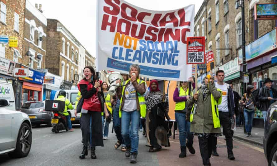 Social housing campaigners in London