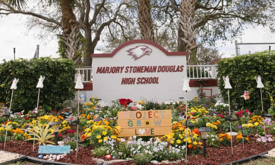 A memorial in the garden outside of Marjory Stoneman Douglas High School commemorates the school shooting victims in Parkland, Florida.