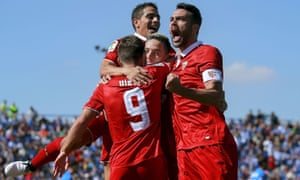 Sevilla celebrate their second goal in the win at Leganés.