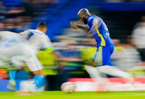 Romelu Lukaku surges forward.