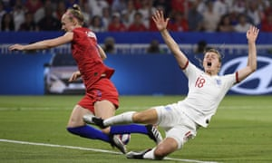 England's Ellen White goes down after the challenge of Becky Sauerbrunn.