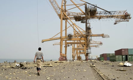 Yemen's Hodeida port, which suffered severe damage in Monday's air strike. It is the main entry point for aid and commercial shipments into the country.