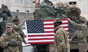 US troops participate in an official welcome event in Żagań.